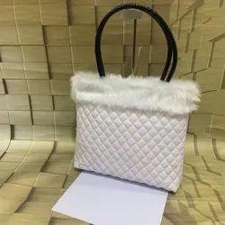 Pu Leather Plain Stylish bag with fur White