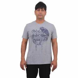 Mens Cotton Grey Round Neck Printed Melange T Shirt, Size: S - XXL