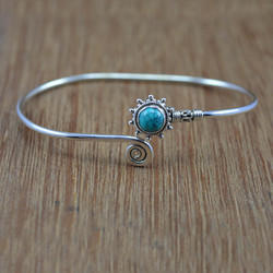 925 Sterling Silver Bangle Jewelry Turquoise Gemstone