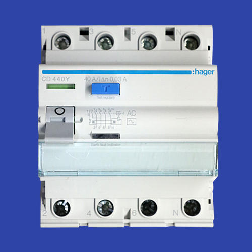 Hager Residual Circuit Breaker (rccb/elcb) 40amp 4 Pole 30ma on