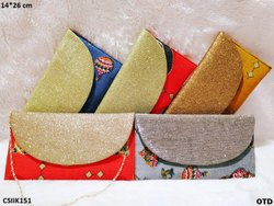 Glittery Ikkat Clutch Bag