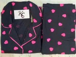 Cotton Black and Pink Heart Ladies Nightwear