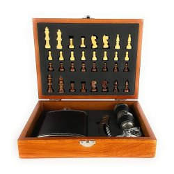 Black Leather Hip Flask Set 8oz with Bottle Opener,2 Glass & Chess Box