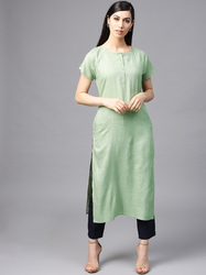Pista Green Solid Straight Kurta