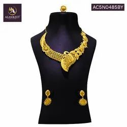 Indian Traditional Jewelry Party Wear Gold Plated Necklace Earring Set for Women and Girls
