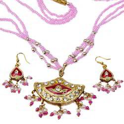 Jaipuri Lacquer Orange Necklace Set 116