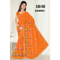 Party Wear Embroidered Cotton Saree, 6 M (With Blouse Piece)