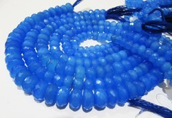 AAA Quality Natural Blue Chalcedony  Rondelle Faceted Beads