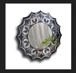 Round Mirror With Glass Work