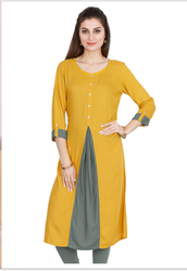 f9cfd0dec9 Mustard Yellow And Grey Rayon Kurti With Buttons at Rs 999 | Kshb ...