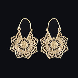 Large Ethnic Mandala Brass Boho Gypsy Hoop Earrings