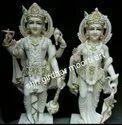 Painted Marble Vishnu Laxmi Statue