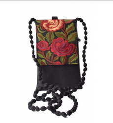 Giftnawazi  Black Embroidered Flap Mobile Cover Cum Purse With Sling, Size: 10.50 Cm X 2.00 Cm X 17.50 Cm