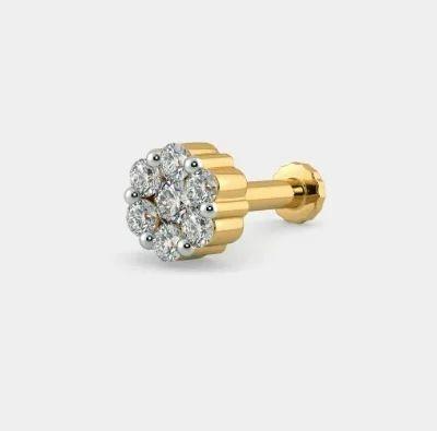 781eea25db6 Sarvada Jewels 18k Yellow Gold Real Natural Diamond Nose Pin