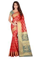 Cotton Multicolor Saree with Blouse Piece, Length: 6.3 m