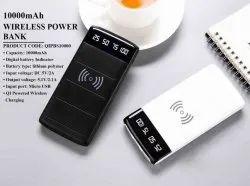 Black and White Wireless Power Bank, Capacity: 10000 mAH, Battery Type: Lithium Polymer
