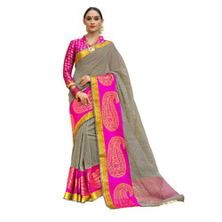 Grey & Pink Colored Festive Wear Cotton Silk Saree