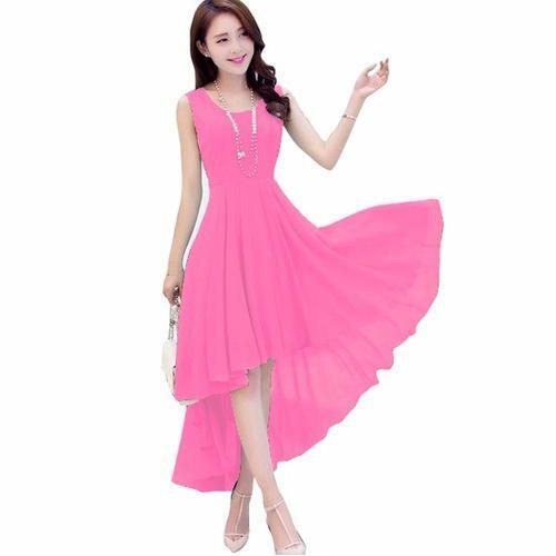 0e12392a0d735 Ladies Chiffon Sleeveless High Low Dress
