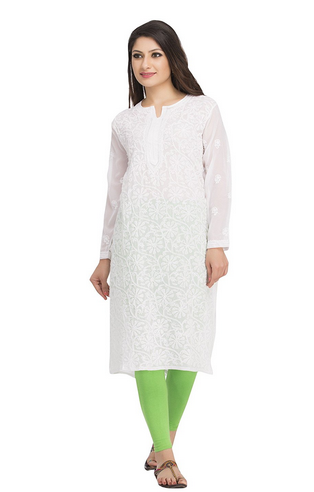 e22637f8663 Small Regular Wear A95485 Chikan Hand Embroidered Faux Georgette Kurti Kurta