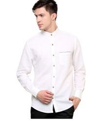 White Linen Solid Smart Casual Shirt