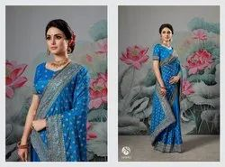 Fancy Ethnic Blue Party Wear Sarees