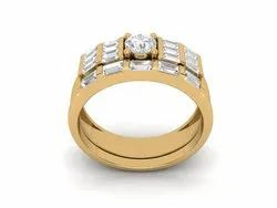 925 Sterling Silver Double Ring Gold Plated Ring