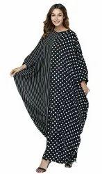 Polka Dot Printed Style Long Women Rayon Cotton Kaftan