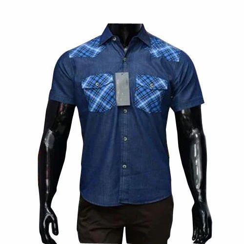 10a08e8a Blue Cotton/Linen Men's Half Sleeves Shirt, Rs 700 /piece | ID ...