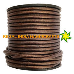 Brown Metallic Round Leather Cord
