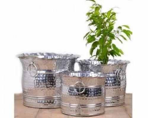 Silver Large Outdoor Planteretal