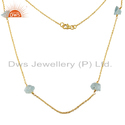 Raw Aquamarine Gemstone Silver Gold Plated Chain Necklace