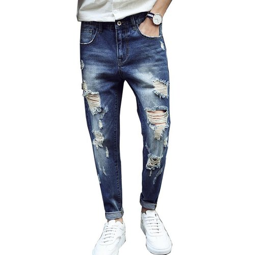 ba073bd0427 Denim Slim Fit Hip Hop Trend Ripped Men Jeans