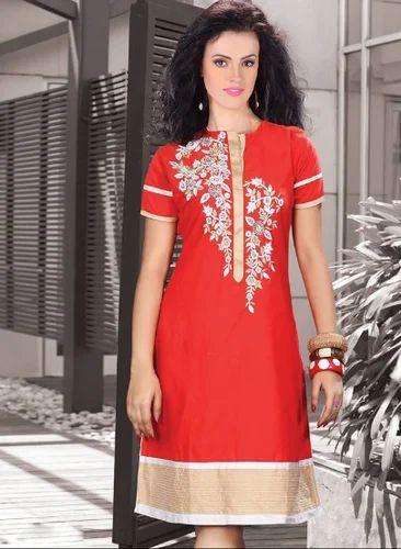 185efe02eb0a Maroon Color Designer Kattan Silk Ready Made Tunic - Naman Creation ...