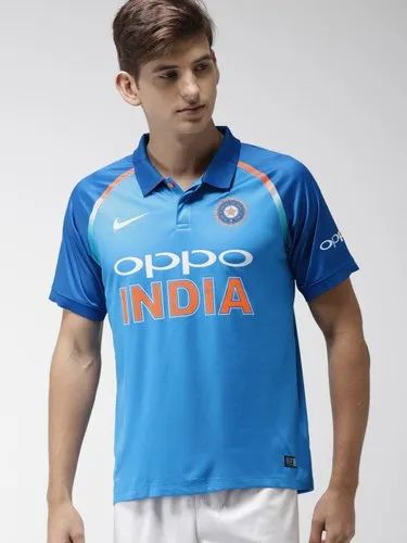 Nisha Creation Polyester Blue Printed Cricket Jersey, Packaging Type: Packet