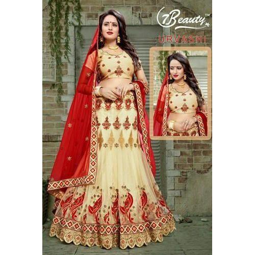 e4e191eabc785 Semi-Stitched Half Sleeves Bridal Lehenga Choli