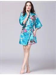 Women''s Satin Silk Premium Nightwear Gown Robe - lake orchid
