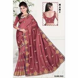Mahi Satin Designer Party Wear Saree, 6 m (with blouse piece), Machine Made