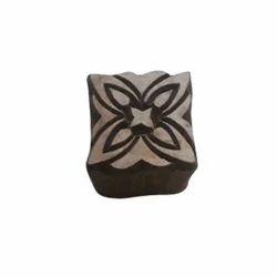 Wooden Square Flower Pattern Print Block