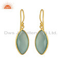 Marquise Aqua Chalcedony Gemstone Gold Plated Silver Hook Earrings