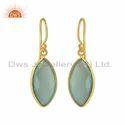 Marquise Aqua Chalcedony Gemstone Gold Plated Silver Hook Earrings