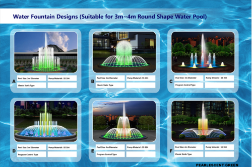 Water Fountain Design Round Shape Pearlescent Green