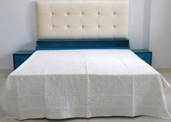 Queen Applique Bedspread White Cutwork Cotton Bed Cover 90x108 Inches
