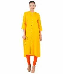 Yellow Floral Embroidery Kurti