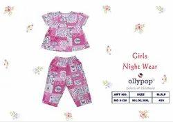Pink Cotton Girls Night Wear, Size: M/L/XL/XXL