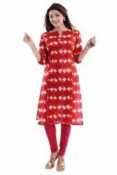 Red-Straight Cut Cotton Kurti