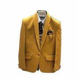 Matty Yellow Kids Mustard Party Wear Suit