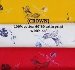 Crown 100% Cotton Satin Print