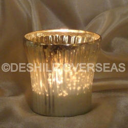 Silver Glass Candle Votive Holder