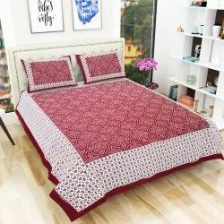 100% Cotton Jaipuri Printed Double Bedsheet with 2 Pillow Covers