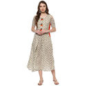 Cotton Gray And White Half Sleeve Printed Kurti, Size: S, M & L
